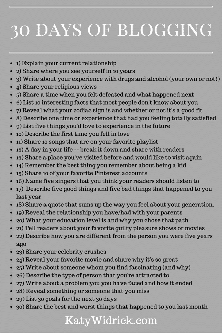 30 ideas for blog posts